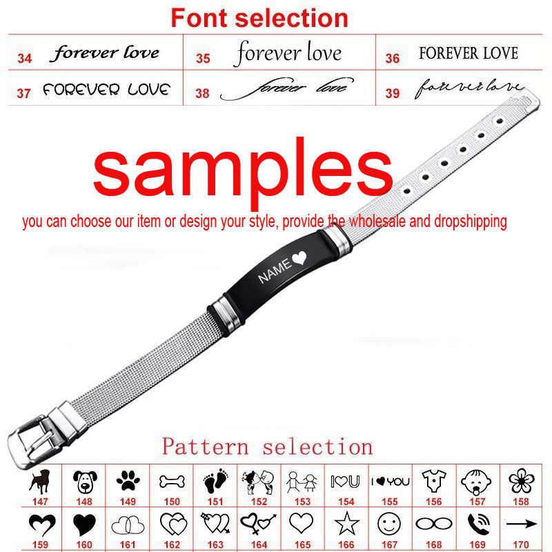 Meaeguet personalizado pulseira de malha corrediça masculina prata nome personalizado pulseira de aço inoxidável masculino bileklik pulseira