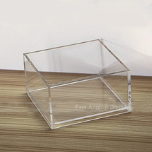 Acrylic Cube Display Stand Square 5 Sided Box 130x130x70mm Jewelry Shop Holder