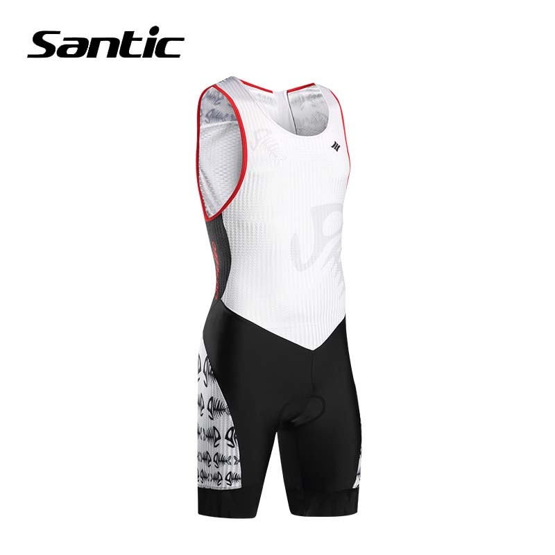 Santic Pro Triathlon Cycling Jersey 2018 Men Breathable One-piece Road Bike Jersey 4D Padded Cycling Skinsuits Bicycle Clothing santic men s cycling hooded jerseys rainproof waterproof bicycle bike rain coat raincoat with removable hat for outdoor riding