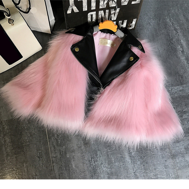 Girl fur Coat Jacket Imitation fox Artificial Fur Grass Plush+leather Fake Two Pieces Winter High Quality Kids Clothes Warm Fur 2017 winter new clothes to overcome the coat of women in the long reed rabbit hair fur fur coat fox raccoon fur collar