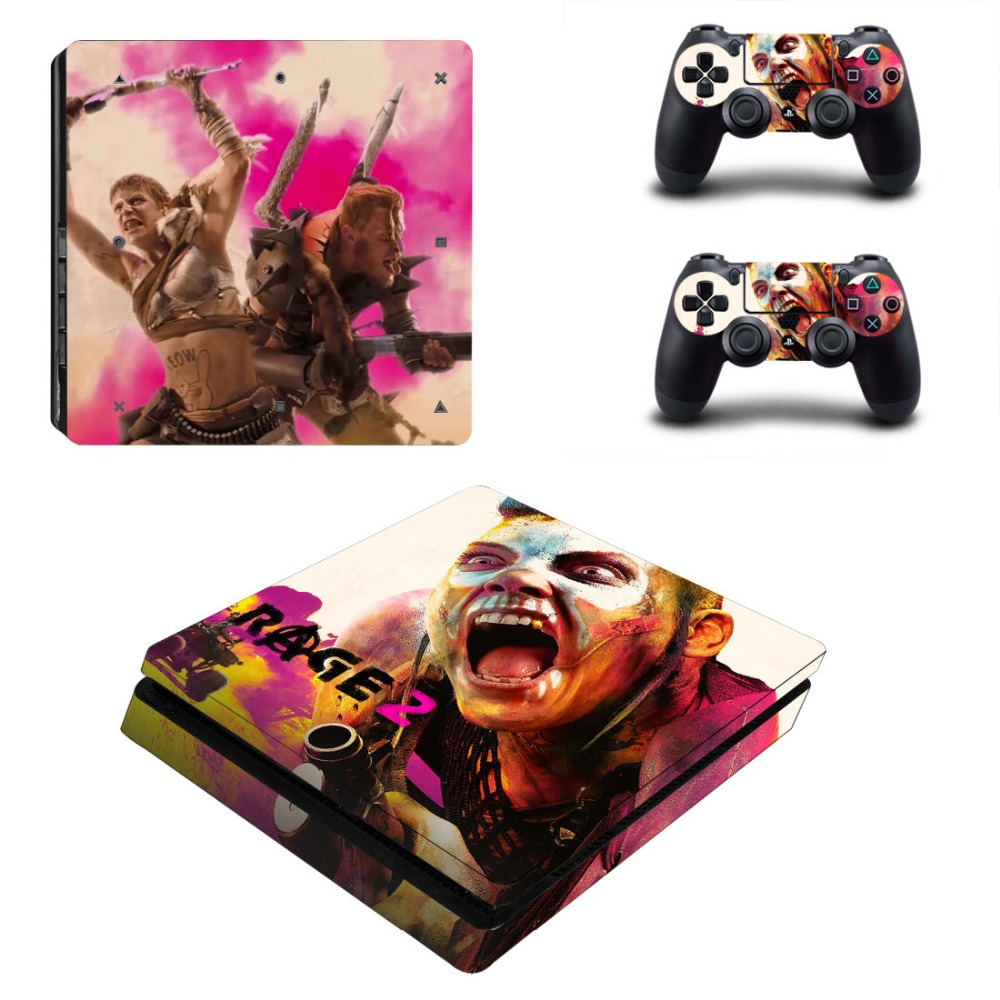 Game Rage 2 PS4 Slim Skin Sticker Decal for Sony PlayStation 4 Console and 2 Controller Skin PS4 Slim Skins Sticker Vinyl