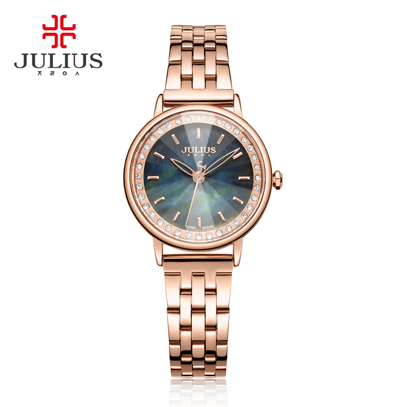 Women's Watch Japan Quartz Hours Clock Fashion Stainless Steel Bracelet Cutting Shell Birthday Girl's Christmas Gift Julius Box small women s watch japan quartz fashion hours bracelet cutting glass rhinestone birthday girl s christmas gift julius box