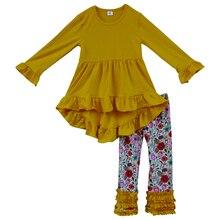 Haute qualité hiver jaune robe floral à volants pantalon enfants boutique tenues en gros enfants en bas âge filles vêtements ensemble F103