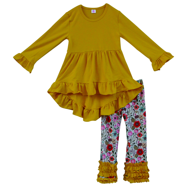 597c3436870b high quality winter yellow dress floral ruffle pants kids boutique outfits  wholesale children toddler girls clothing set F103