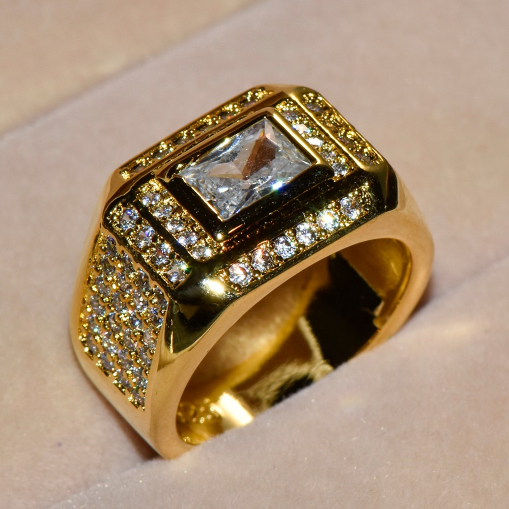 Luxury Men Big Yellow Gold Filled Engagement Rings Square -7166