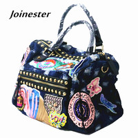 Fashion Ladies Large Capacity Casual Hand Tote Jeans Shopping Bag Functional Crossbody Shoulder Bag Vintage Top
