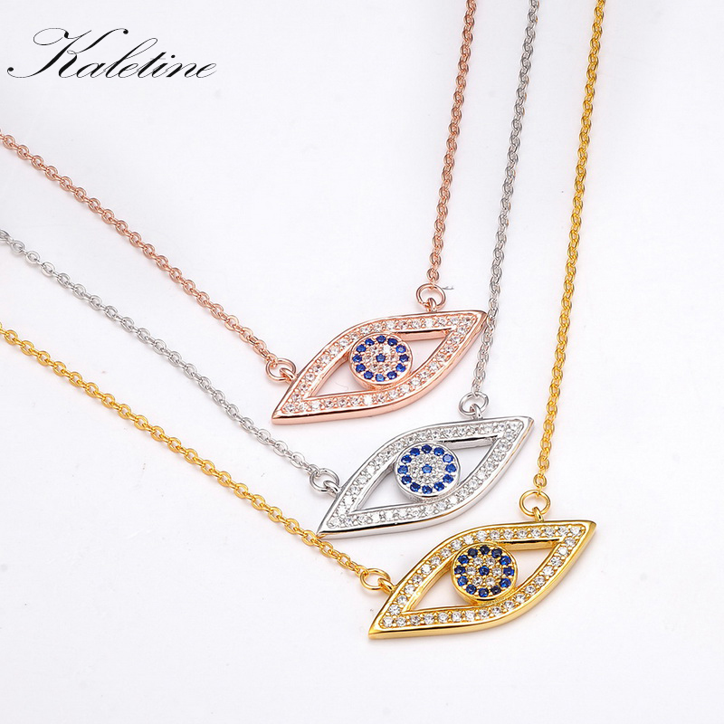 Kaletine Long Chain Necklace Full CZ Solid 925 Sterling Silver Evil Eye Hamsa Blue Crystals Womens Pendant Necklace Gold Jewelry