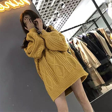 DoreenBow New Fashion Women Autumn Winter Solid Knitted Sweater Female Chic Casual Thick Warm Pullovers Sweaters Yellow