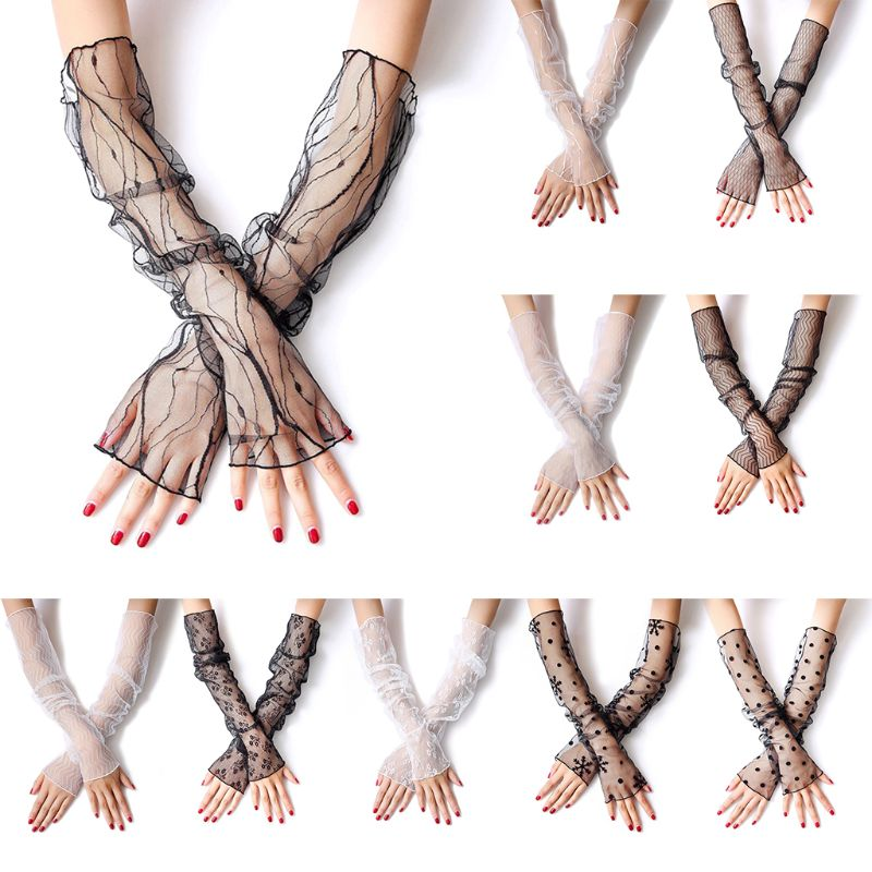 Women Girls Summer UV Protection Sunscreen Long Gloves Sheer Fishnet Mesh Lace Fingerless Arm Sleeves Jacquard Floral Leggings