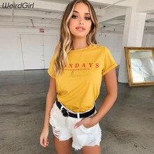 Weirdgirl women fashion casual t-shirt short sleeve o-neck loose elastic femme tee letter print soft comfortable home summer new цена