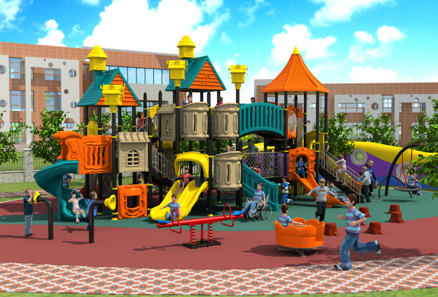 Exported Children Outdoor Plastic Playground Park Kids Paradise Facility  Villa Roof Play Equipment YLW OUT171066
