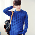 2016 New Arrival Spring Autumn Fashion Men's Casual Long Sleeved O-neck Solid Slim Fit Pullover Sweater Blue/White/Black/Wine