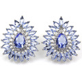 Rich Blue Violet Tanzanite, White CZ SheCrown Woman's Engagement Created  Silver Stud Earrings 25x21mm