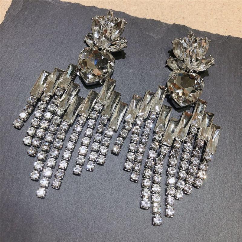New Shiny Crystal Big Dangle Earrings for Women Charm Rhinestone Tassel Statement Earrings Party Fashion Jewelry Accessories Hot in Drop Earrings from Jewelry Accessories