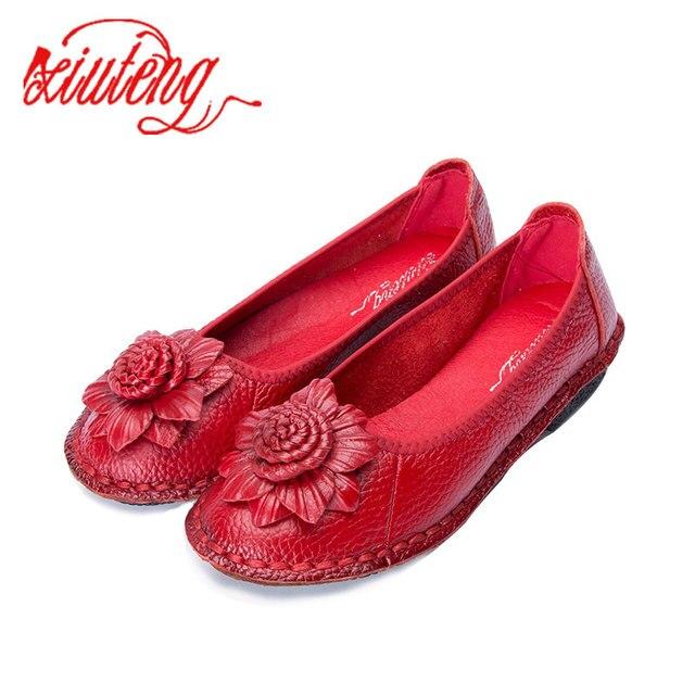Mntrerm 2019 Kadın Ayakkabı Kadın Hakiki Deri düz ayakkabı Çiçek El dikişli deri makosenler Kadın rahat ayakkabılar Kadın Flats