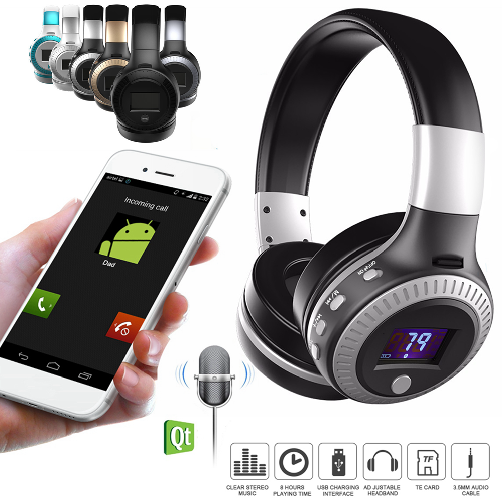 Zealot B19 Wireless Bluetooth 4.0 Stereo Headphone TF Card FM Radio LCD Headset good quality original zealot b19 stereo wireless headset bluetooth headphone headband headset with fm tf led indicators for mp3