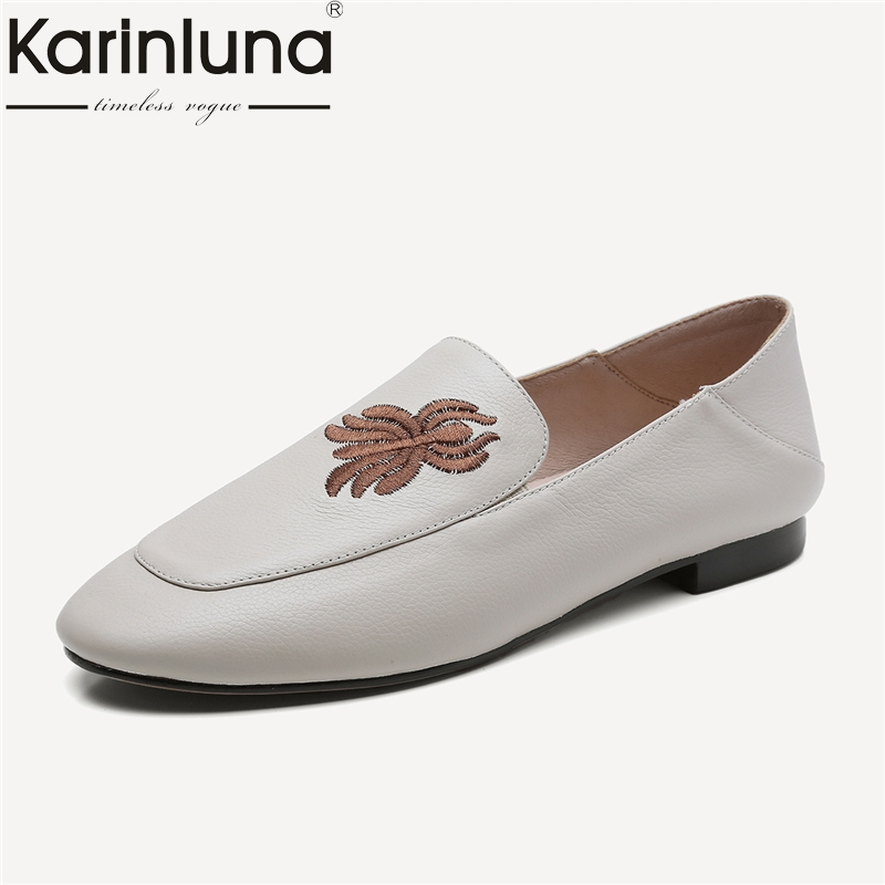 KarinLuna Size 34-39 Genine Leather Round Toe Slip On Low Heels Woman Shoes Embroidered Pumps Party Wedding Women Shoes karinluna big size 31 47 office lady shoes women med heels slip on elegant round toe dating woman pumps pink black