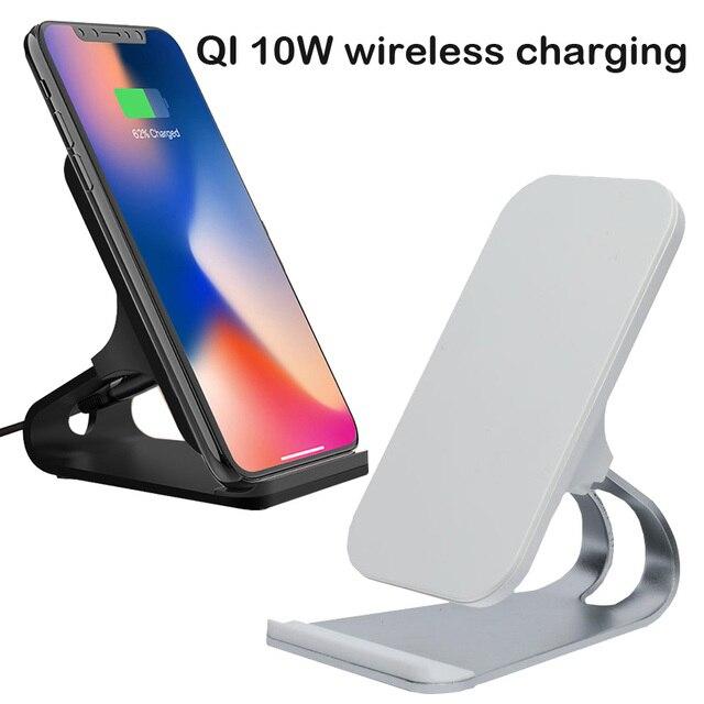 Qi hızlı kablosuz şarj aleti iPhone X XS Max XR Şarj Cihazı USB 10 W Şarj chargeur indüksiyon standı Dock Samsung Galaxy S8 s9