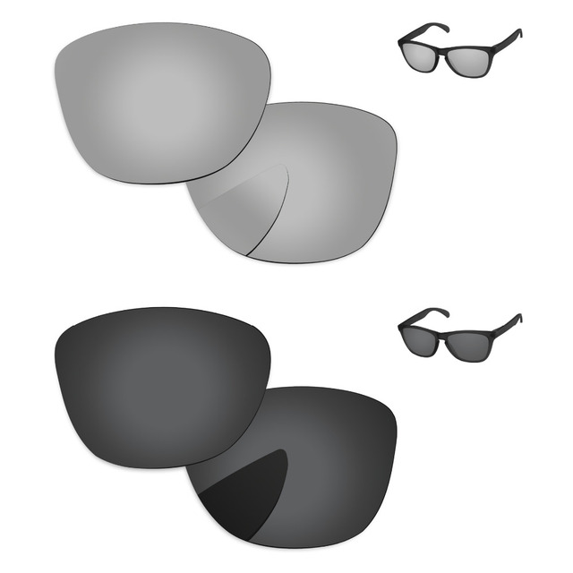 8180dbcba07 Black   Chrome Silver 2 Pairs Polarized Replacement Lenses For Frogskins  Sunglasses Frame 100% UVA