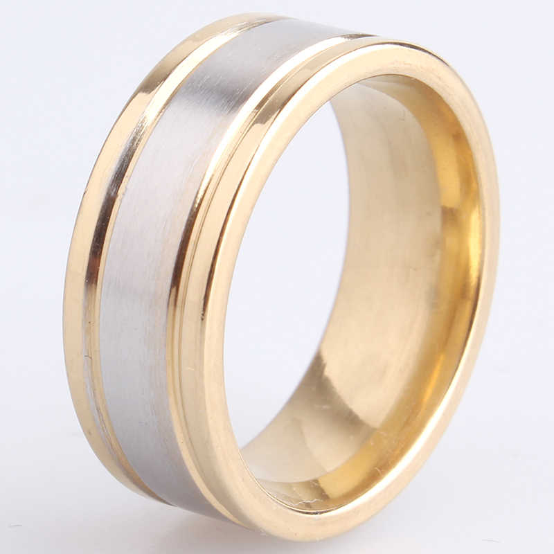 8mm gold color border brushed 316L Stainless Steel wedding rings for men women wholesale