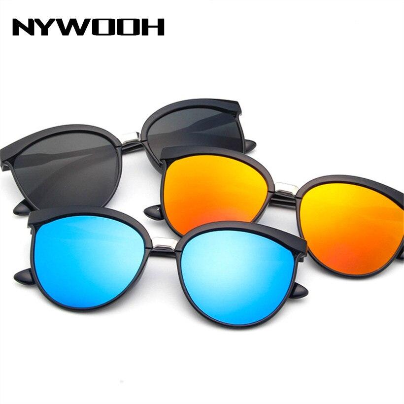 NYWOOH Vintage Cat Eye Sonnenbrille Frauen Luxus Spiegel Sonnenbrille UV400 Männer Klassische Marke Kunststoff Sonnenbrille Shades für Damen