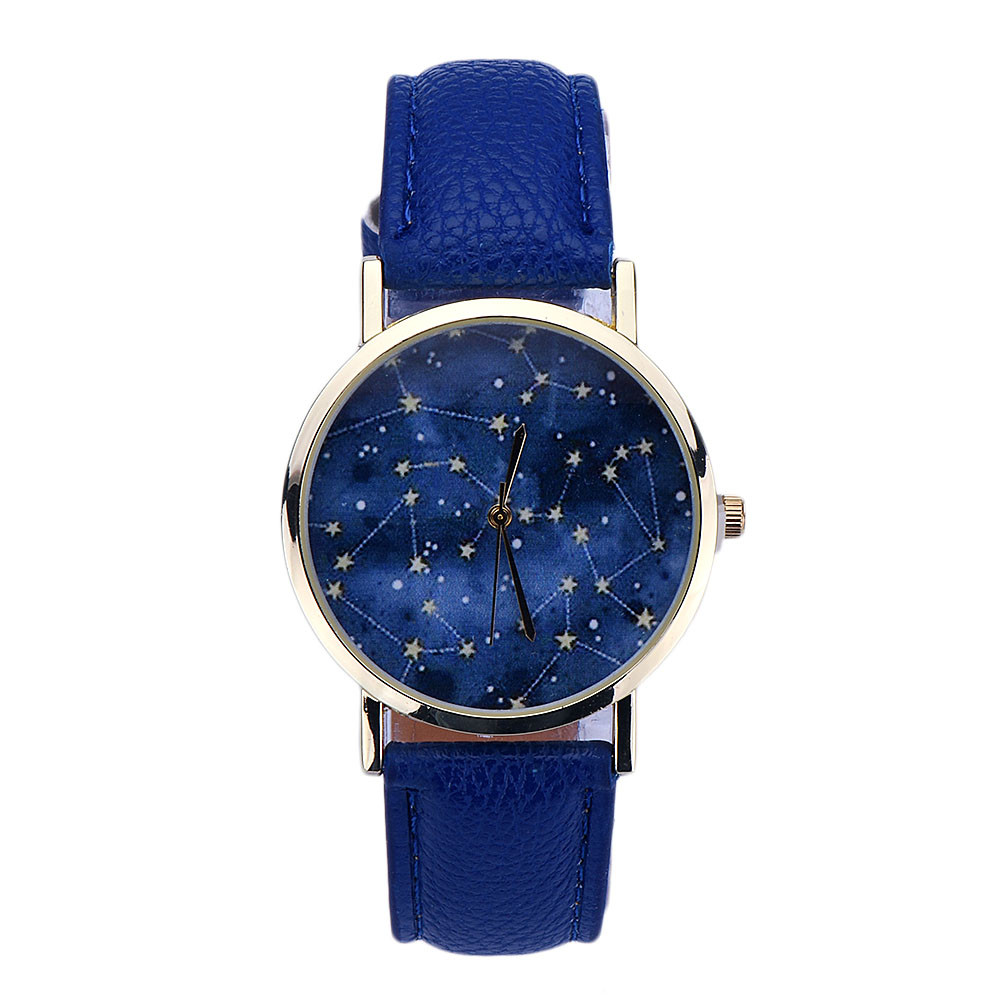 Cheap watches for women fashion night stars pattern quartz watch mens faux leather strap for Cheap watches