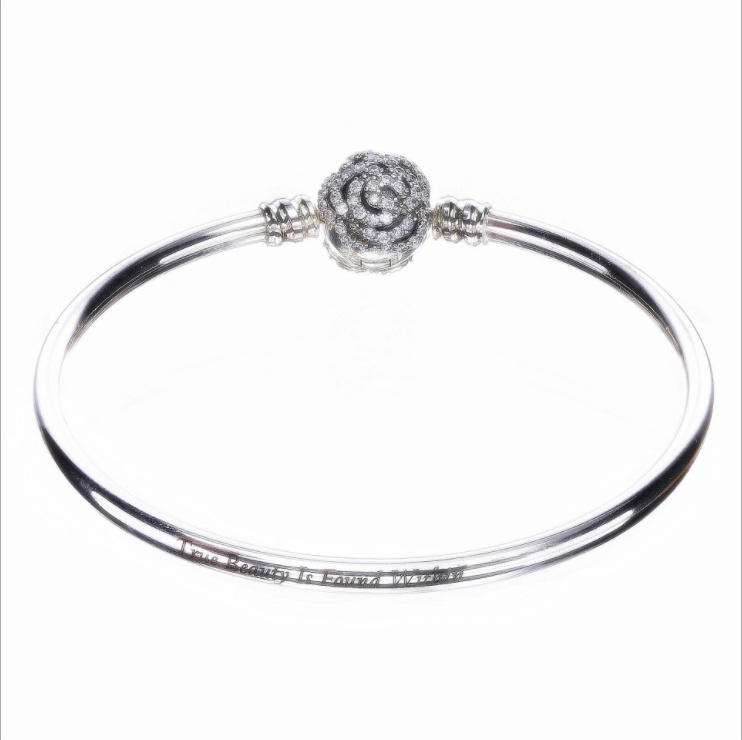 2017 new Retro Authentic 100%925 Sterling Silver Rose With CZ Bangle For Women Fit European panqiou Bracelet bangle DIY Jewelry