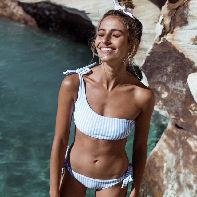 COPOZZ Summer One Shoulder Bikini Set omg Bandage Striped Lace Up High Waist women's