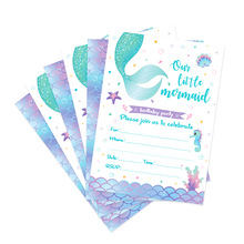 Little Mermaid Birthday Party Invitation Cards Your're Invited Weeding Invitations Lets be Mermaid Kids Party Favors Decorations