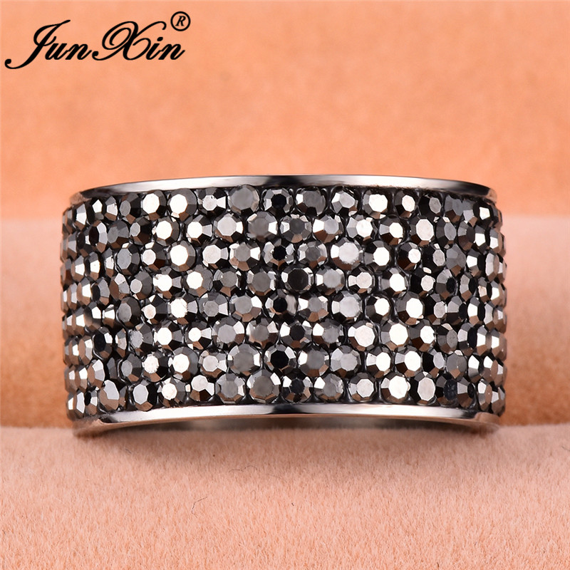 f4182e95a540 JUNXIN cristal Multicolor grandes anillos para hombres mujeres ...
