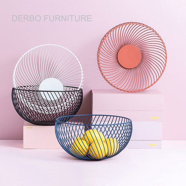 Minimalist Modern Design fashion Metal Steel Wire Fruit Basket Plate ...