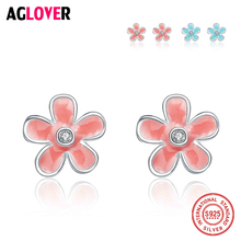 Plum Flower Fashion Earrings for Women 925 Sterling Silver Stud Earring High Quality Crystal Party Jewelry Gift For Her