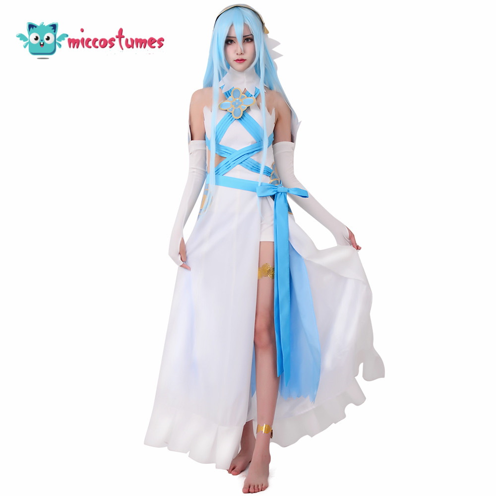 Fire Emblem Fates Birthright Singer White Azura Cosplay Costume (headwear and stickers included) Anime Women Dress