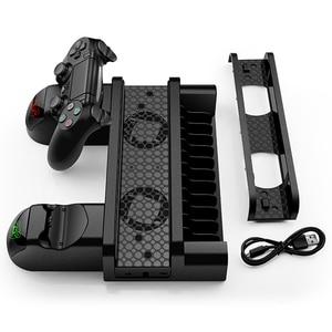 Image 5 - Stanowisko chłodzące dla PS4/PS4 Slim/PS4 PRO z 12 sztuk miejsce do przechowywania gier podwójny kontroler ładująca stacja dokująca dla Sony Playstation 4 Pro