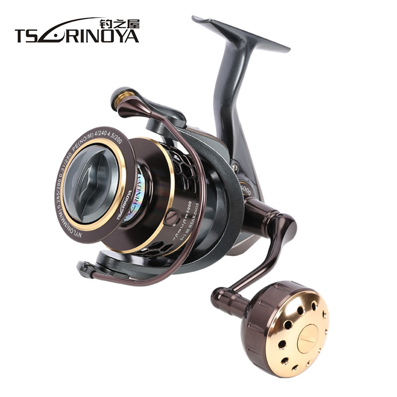 TSURINOYA JAGUAR Slow Jigging Reel 10BB Speed Ratio 5.2:1 Metal Handle Saltwater Spinning Reels Drag 7kg Sea Boat Fishing Reel hiumi 30kg power drag 3000 8000 daiwa saltiga alike spinning reels heavy duty sea fishing boat fishing jigging fishing reel