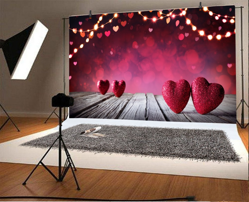 Laeacco Red Love Heart Decoration Light Bokeh Valentine 39 s Day Photography Backgrounds Customized Backdrops For Photo Studio in Background from Consumer Electronics