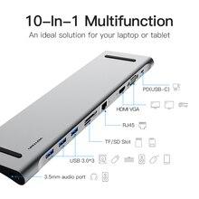متعددة 10in1 USB نوع C محور إلى HDMI VGA RJ45 USB 3.0 HUB محول مع SD/TF قارئ بطاقات USB C محول للحاسوب النقال برو