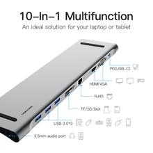 Multi 10in1 USB Type C HUB naar HDMI VGA RJ45 USB 3.0 HUB Converter met SD/TF Card Reader USB C Adapter voor Macbook Pro