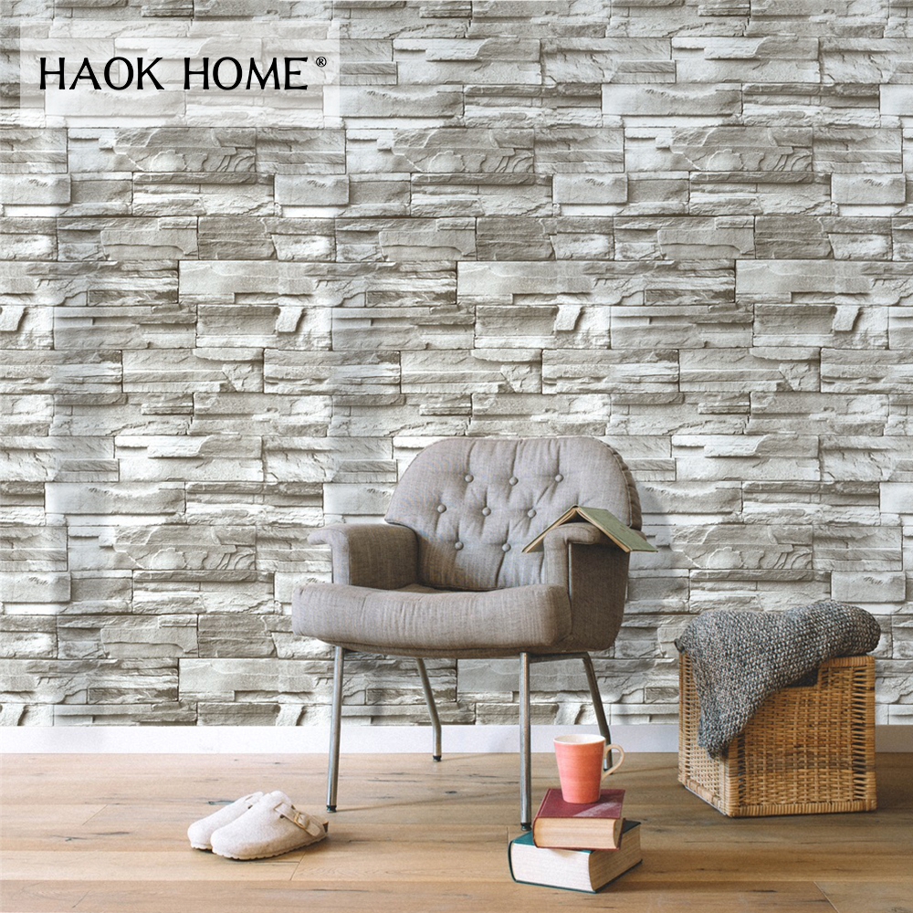 HaokHome Vintage Peel Stick Faux Brick Wallpaper For walls 3d Self Adhesive Sticker Green living room bedroom Home decoration
