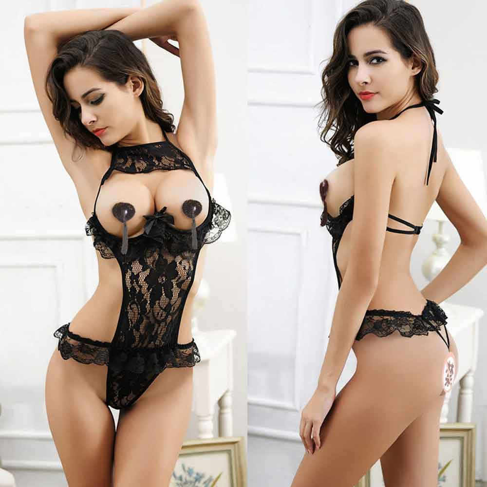 Hot Sexy Lingerie Lace Floral Open Bust Transparent Sleepwear Pajamas Women Passion Sexy Exposed Underwear Black Lenceria #P30