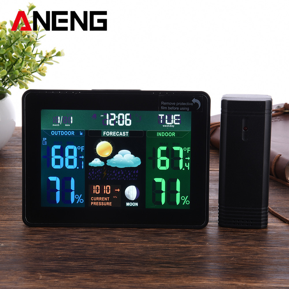 Digital LCD Wireless Weather Station Clock Alarm Electronic Indoor Outdoor Thermometer Hygrometer Calendar Moon Phase Display wireless weather station digital color lcd thermometer forecaster clock indoor outdoor humidity meter with remote sensor 50% off