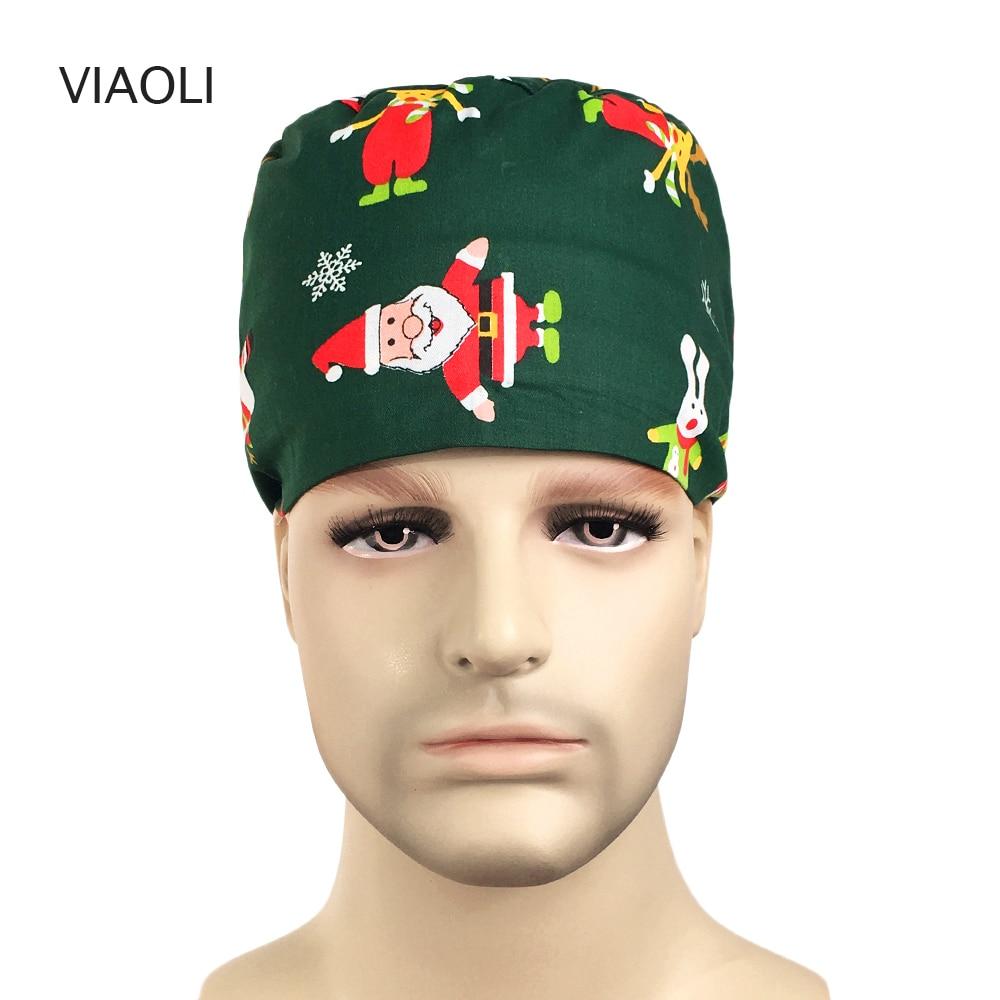 New Doctor Surgical Scrub Cap Unisex Hospital Adjustable Medical Cap Scrub Lab Clinic Dental Surgery Christmas Print Hat Nurse