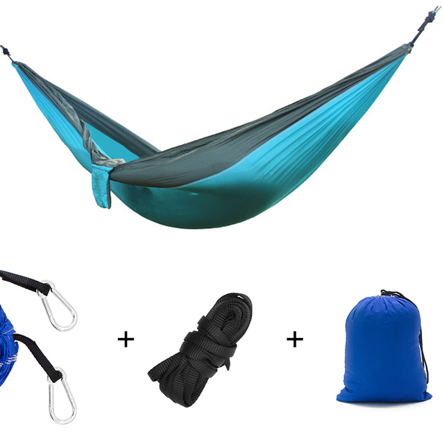 Nylon Double Person Hammock Adult Camping Outdoor Backpacking Travel Survival Hunting Sleeping Bed 1