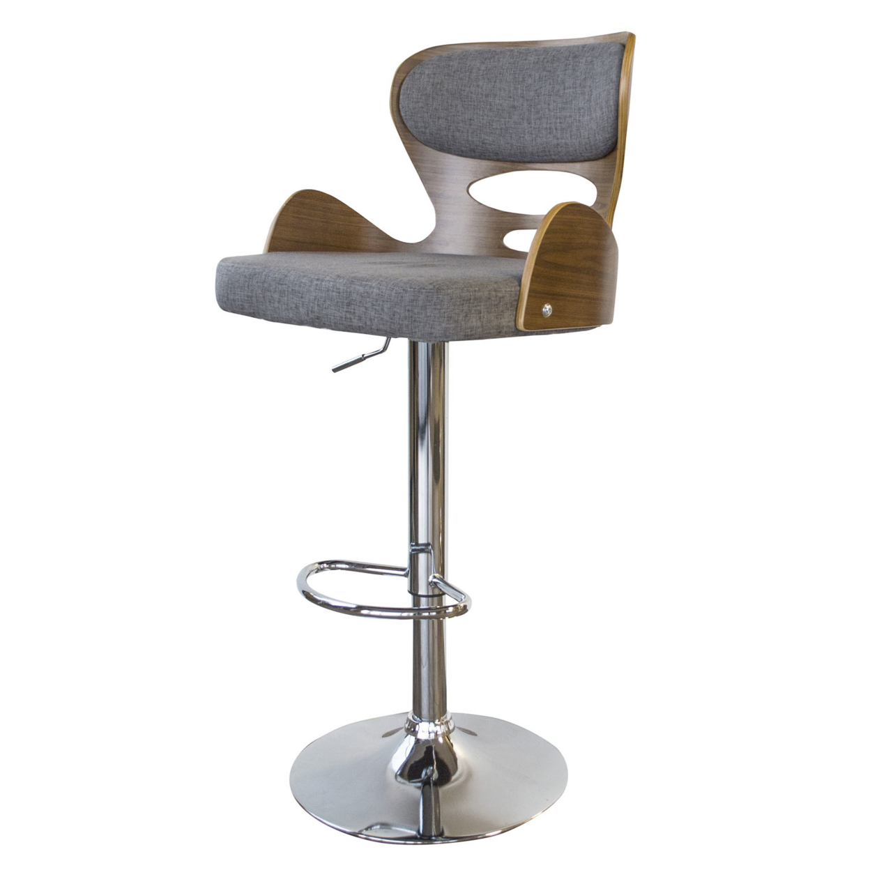 AmeriHome Bent Wood Pebble Fabric Bar Stool