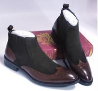 Замшевые Для Мужчин полусапожки высокие ботинки «Челси» из натуральной кожи ботинки Броги мужские
