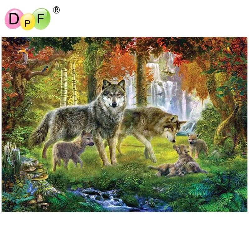 5D DIY Mosaic Diamond Painting Embroidery Wolves Cross Stitch Kits Craft Decor
