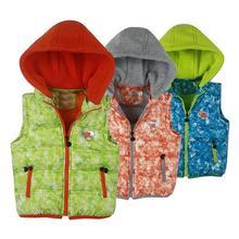 Капюшоном камуфляж детская жилеты осень теплой одежды толстый зимний мальчиков и девочек одежда спортивный режим молнии дети жилет куртки