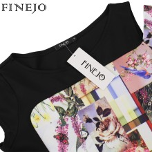 FINEJO 3D Print Flora 3XL Plus Size Women Dress Fashion Patchwork Pencil Dresses Sexy Summer Short Sleeve Off Shoulder Vestidos