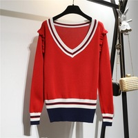 Red Blue Knit Sweaters Women Ruffle Trim Mixed Knit Jumper Autumn New 2019 Long Sleeve Casual Loose Pullover Knitted Tops L1341