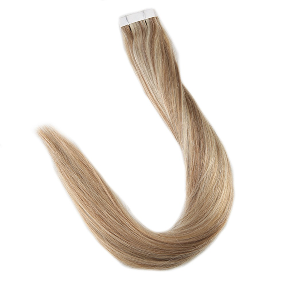 Full Shine Ombre Tape In Hair Extensions Blond Color #10 Fading To 613 On 20 Pcs 50g/Pack 100% Remy With Tapes